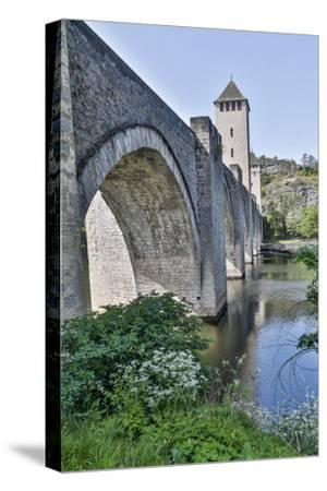 France, Cahors. Pont Valentre over the Lot river-Hollice Looney-Stretched Canvas Print