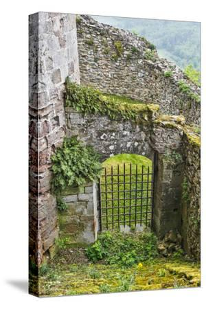 France, Najac. Window in the Najac Castle-Hollice Looney-Stretched Canvas Print