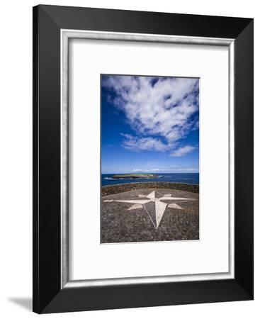 Portugal, Azores, Sao Jorge Island, Topo. Ponta do Topo, compass rose mosaic-Walter Bibikow-Framed Photographic Print