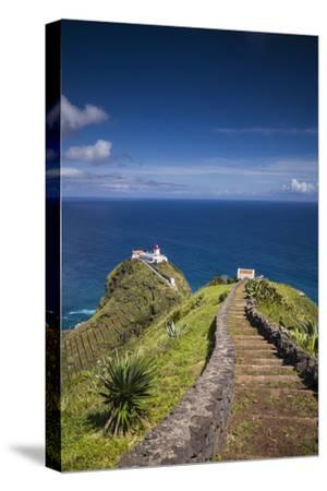 Portugal, Azores, Santa Maria Island, Ponta do Castelo lighthouse-Walter Bibikow-Stretched Canvas Print