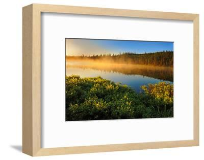 Canada, Quebec, Lac A Thompson. Sunrise mist on lake.-Jaynes Gallery-Framed Photographic Print