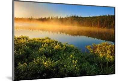 Canada, Quebec, Lac A Thompson. Sunrise mist on lake.-Jaynes Gallery-Mounted Photographic Print