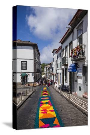 Portugal, Azores, Sao Miguel Island, Ponta Delgada. Festa Santo Christo dos Milagres festival-Walter Bibikow-Stretched Canvas Print