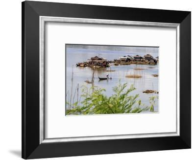 Koh Trong Island. Floating Vietnamese fishing village across the Mekong River from Kratie, Cambodia-Yvette Cardozo-Framed Photographic Print