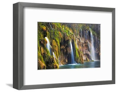 Croatia, Plitvice Lakes National Park. Waterfalls into stream.-Jaynes Gallery-Framed Photographic Print