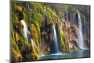 Croatia, Plitvice Lakes National Park. Waterfalls into stream.-Jaynes Gallery-Mounted Photographic Print