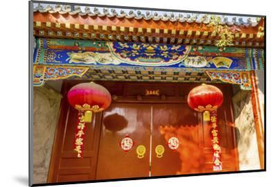 Ornate red door, lanterns New Year sayings, Hutong Neighborhood, Beijing, China.-William Perry-Mounted Photographic Print