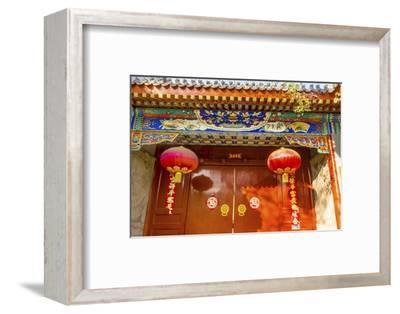 Ornate red door, lanterns New Year sayings, Hutong Neighborhood, Beijing, China.-William Perry-Framed Photographic Print