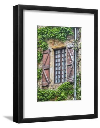 France, Cordes-sur-Ciel. Weathered shutters and window.-Hollice Looney-Framed Photographic Print
