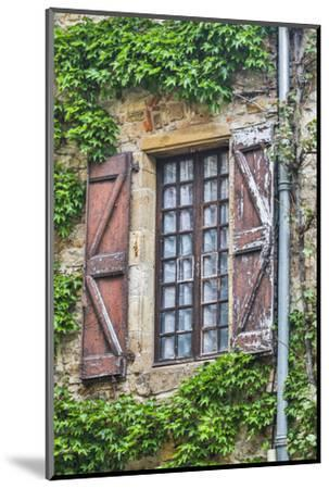 France, Cordes-sur-Ciel. Weathered shutters and window.-Hollice Looney-Mounted Photographic Print