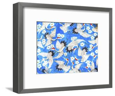 Old Chinese design blue, white and red cranes ceramic plate, Panjuan Flea Market, Beijing, China.-William Perry-Framed Photographic Print