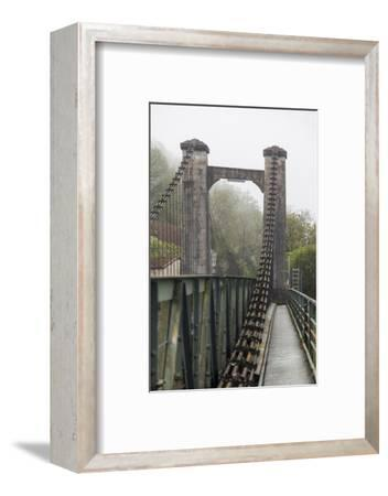 France, Cajarc. Early morning fog on the iron bridge over the Lot River.-Hollice Looney-Framed Photographic Print