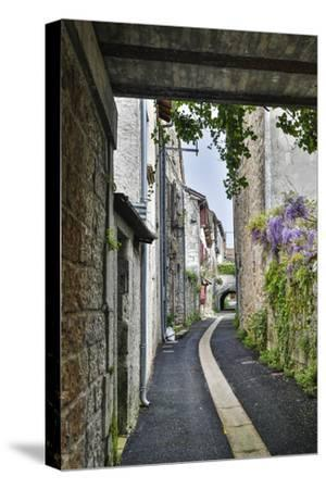 France, Cajarc. Narrow alley.-Hollice Looney-Stretched Canvas Print