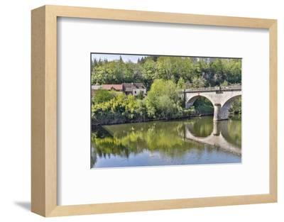 France, Lot River. Stone bridge over the Lot River.-Hollice Looney-Framed Photographic Print
