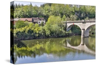 France, Lot River. Stone bridge over the Lot River.-Hollice Looney-Stretched Canvas Print