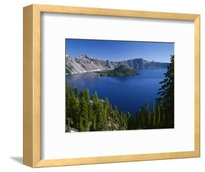 Oregon. Crater Lake NP, Wizard Island and Crater Lake with a grove of mountain hemlock-John Barger-Framed Photographic Print