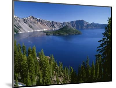 Oregon. Crater Lake NP, Wizard Island and Crater Lake with a grove of mountain hemlock-John Barger-Mounted Photographic Print