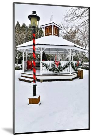 Christmas time and snow covering park in town of Snoqualmie, Washington State-Darrell Gulin-Mounted Photographic Print