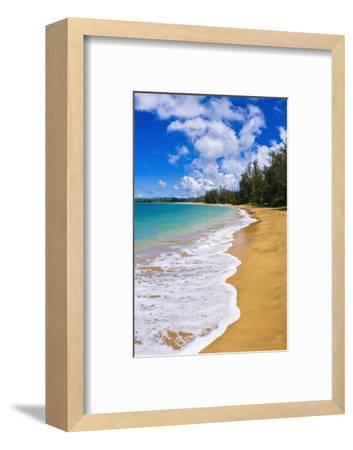Empty beach and blue Pacific waters on Hanalei Bay, Island of Kauai, Hawaii, USA-Russ Bishop-Framed Photographic Print