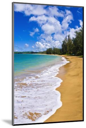 Empty beach and blue Pacific waters on Hanalei Bay, Island of Kauai, Hawaii, USA-Russ Bishop-Mounted Photographic Print