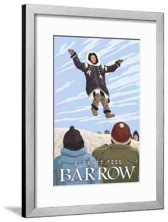 Alaska Blanket Toss, Barrow, Alaska-Lantern Press-Framed Art Print