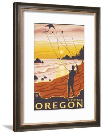 Beach & Kites, Florence, Oregon-Lantern Press-Framed Art Print