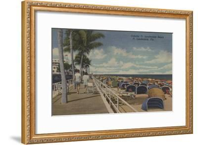 Ft. Lauderdale, Florida - View of Ft. L. Boardwalk-Lantern Press-Framed Art Print