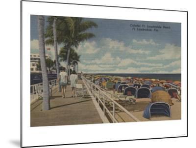 Ft. Lauderdale, Florida - View of Ft. L. Boardwalk-Lantern Press-Mounted Art Print