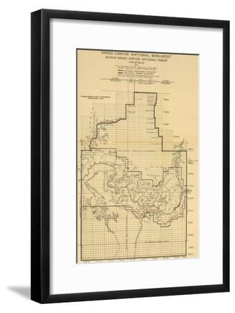 Grand Canyon National Park - Panoramic Map-Lantern Press-Framed Art Print