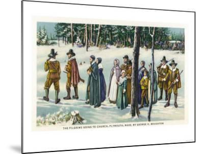 Plymouth, Massachusetts - Pilgrims Going to Church in the Snow Scene-Lantern Press-Mounted Art Print