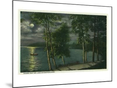 Lake Winnipesaukee, Maine - Moonlit Scene on the Lake-Lantern Press-Mounted Art Print