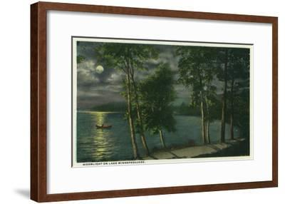 Lake Winnipesaukee, Maine - Moonlit Scene on the Lake-Lantern Press-Framed Art Print
