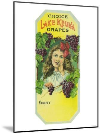 Penn Yan, New York - Variety Choice Lake Keuka Grapes Label-Lantern Press-Mounted Art Print