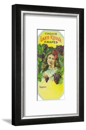 Penn Yan, New York - Variety Choice Lake Keuka Grapes Label-Lantern Press-Framed Art Print