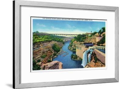 Rochester, NY - Genesee River Gorge, Park Avenue Bridge, Lower Falls View-Lantern Press-Framed Art Print