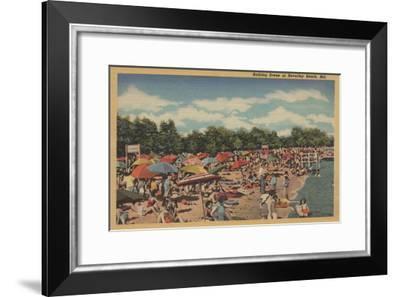 Beverley Beach, MD - Sunbathing Scene-Lantern Press-Framed Art Print