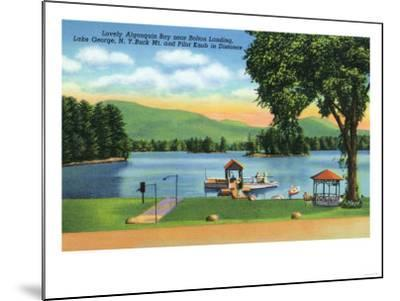 Lake George, New York - Algonquin Bay View of Buck Mt and Pilot Knob-Lantern Press-Mounted Art Print
