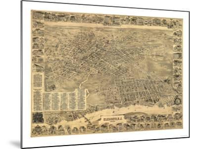 Elizabeth, New Jersey - Panoramic Map-Lantern Press-Mounted Art Print