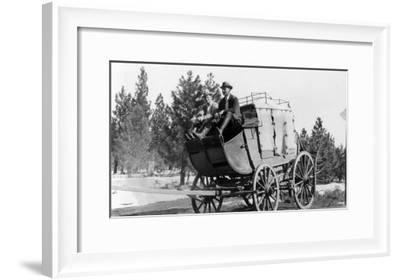 Stagecoach on the Way to Walker Mine - Portola, CA-Lantern Press-Framed Art Print