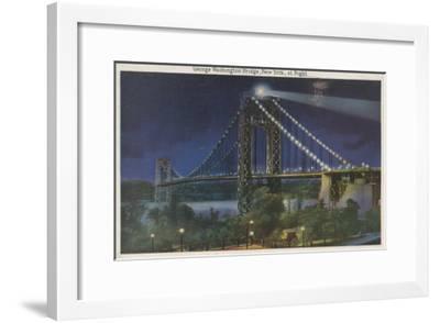 New York, NY - George Washington Bridge At Night-Lantern Press-Framed Art Print