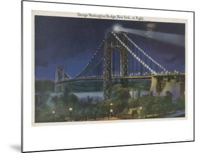 New York, NY - George Washington Bridge At Night-Lantern Press-Mounted Art Print