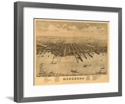 Muskegon, Michigan - Panoramic Map-Lantern Press-Framed Art Print