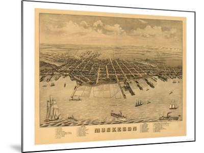 Muskegon, Michigan - Panoramic Map-Lantern Press-Mounted Art Print