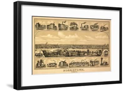 Norristown, Pennsylvania - Panoramic Map-Lantern Press-Framed Art Print