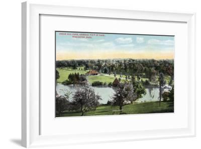 Worcester, Massachusetts - View of Green Hill Park-Lantern Press-Framed Art Print