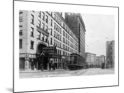 Seattle, Washington - Exterior View of Moore Theatre, Second Ave-Lantern Press-Mounted Art Print