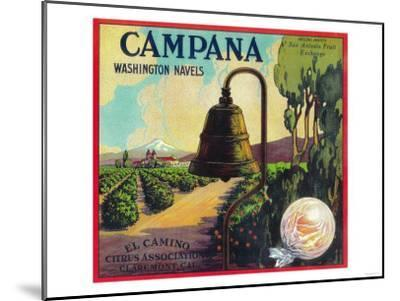 Campana Orange Label - Claremont, CA-Lantern Press-Mounted Art Print