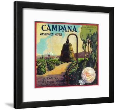 Campana Orange Label - Claremont, CA-Lantern Press-Framed Art Print