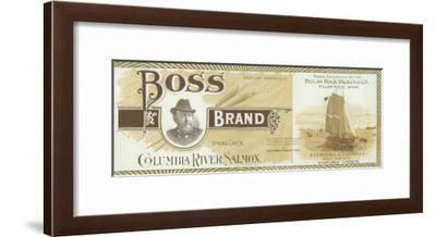 Pillar Rock, Washington - Boss Salmon Label-Lantern Press-Framed Art Print