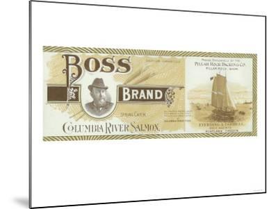 Pillar Rock, Washington - Boss Salmon Label-Lantern Press-Mounted Art Print